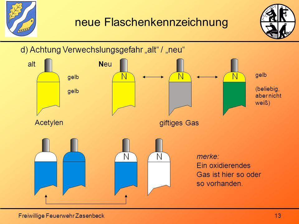 Freiwillige Feuerwehr Zasenbeck13 neue Flaschenkennzeichnung d) Achtung Verwechslungsgefahr alt / neu Acetylen giftiges Gas gelb (beliebig, aber nicht weiß) altNeu merke: Ein oxidierendes Gas ist hier so oder so vorhanden.
