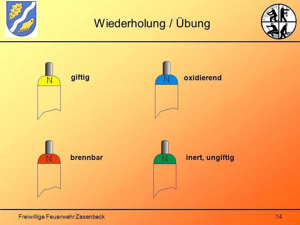 Freiwillige Feuerwehr Zasenbeck14 Wiederholung / Übung giftig brennbar oxidierend inert, ungiftig