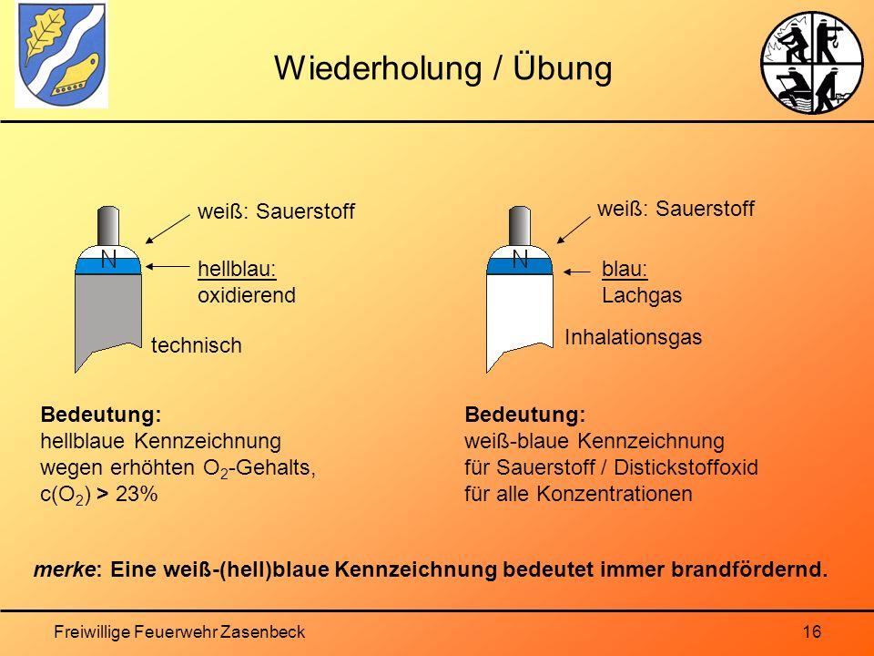 Freiwillige Feuerwehr Zasenbeck16 Wiederholung / Übung Bedeutung: hellblaue Kennzeichnung wegen erhöhten O 2 -Gehalts, c(O 2 ) > 23% weiß: Sauerstoff Bedeutung: weiß-blaue Kennzeichnung für Sauerstoff / Distickstoffoxid für alle Konzentrationen merke: Eine weiß-(hell)blaue Kennzeichnung bedeutet immer brandfördernd.