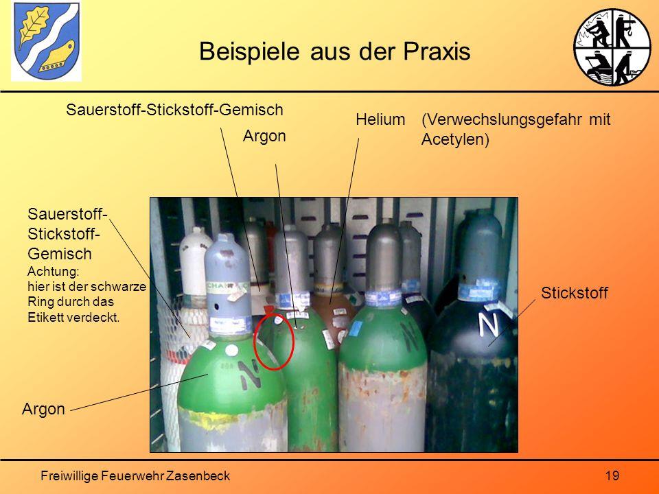 Freiwillige Feuerwehr Zasenbeck19 Beispiele aus der Praxis Argon Sauerstoff- Stickstoff- Gemisch Achtung: hier ist der schwarze Ring durch das Etikett verdeckt.