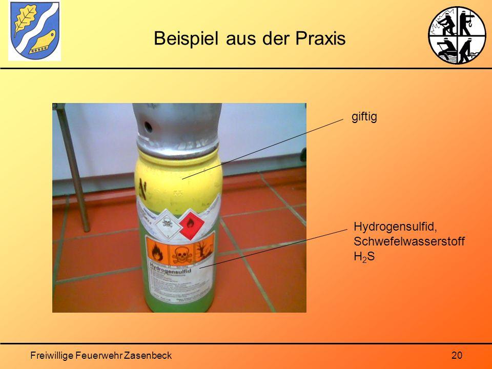 Freiwillige Feuerwehr Zasenbeck20 Beispiel aus der Praxis giftig Hydrogensulfid, Schwefelwasserstoff H 2 S