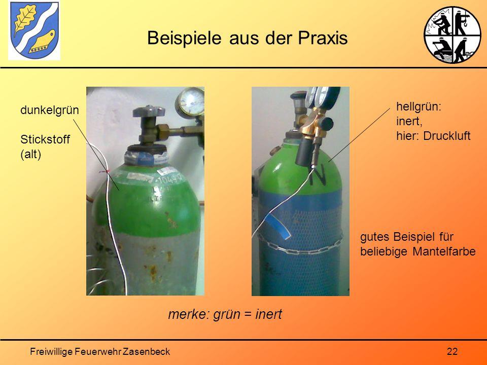 Freiwillige Feuerwehr Zasenbeck22 Beispiele aus der Praxis gutes Beispiel für beliebige Mantelfarbe hellgrün: inert, hier: Druckluft dunkelgrün Stickstoff (alt) merke: grün = inert