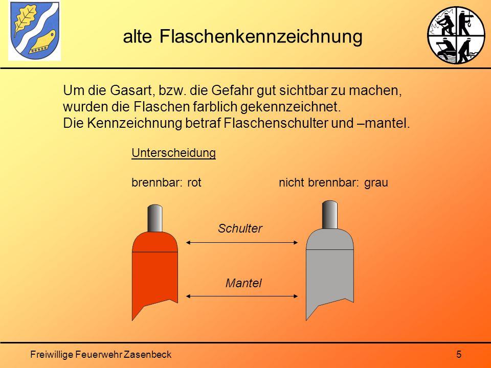 Freiwillige Feuerwehr Zasenbeck5 alte Flaschenkennzeichnung Um die Gasart, bzw.
