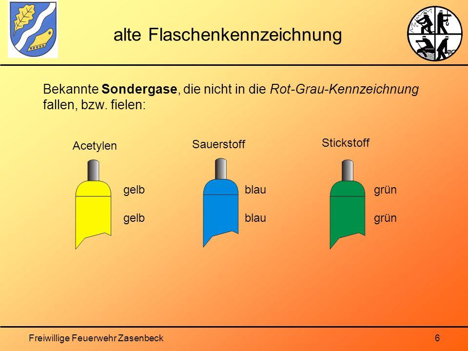 Freiwillige Feuerwehr Zasenbeck6 alte Flaschenkennzeichnung Bekannte Sondergase, die nicht in die Rot-Grau-Kennzeichnung fallen, bzw.