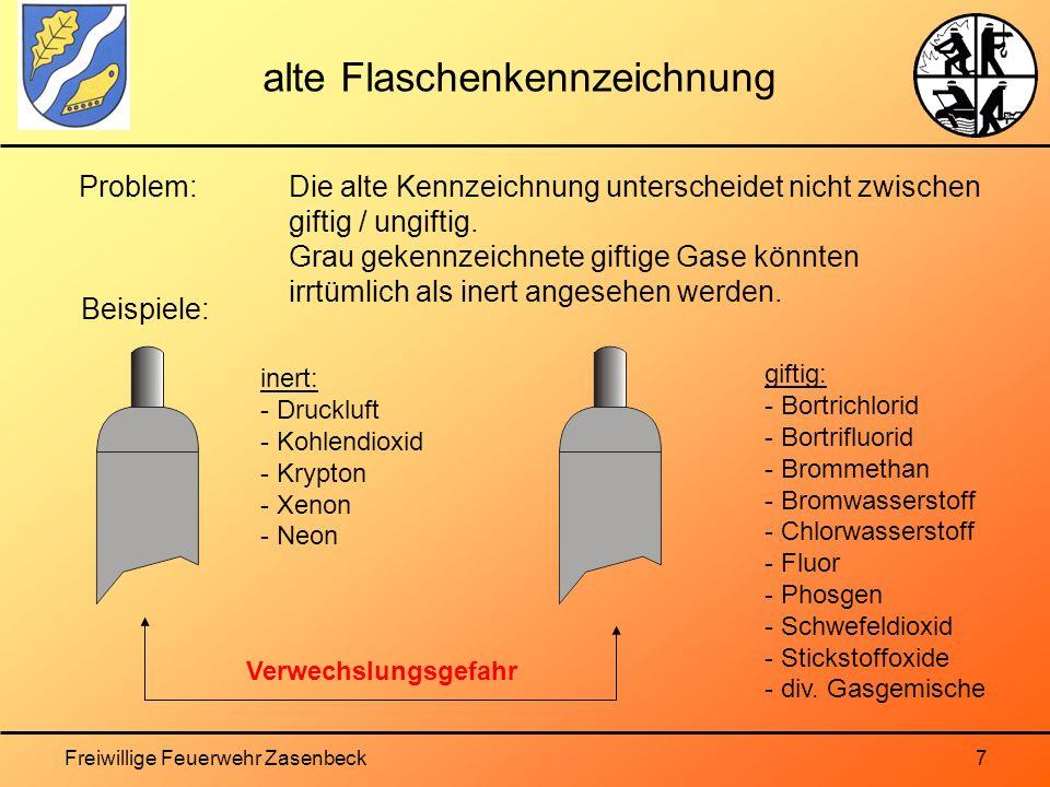 Freiwillige Feuerwehr Zasenbeck7 alte Flaschenkennzeichnung Problem: Die alte Kennzeichnung unterscheidet nicht zwischen giftig / ungiftig.