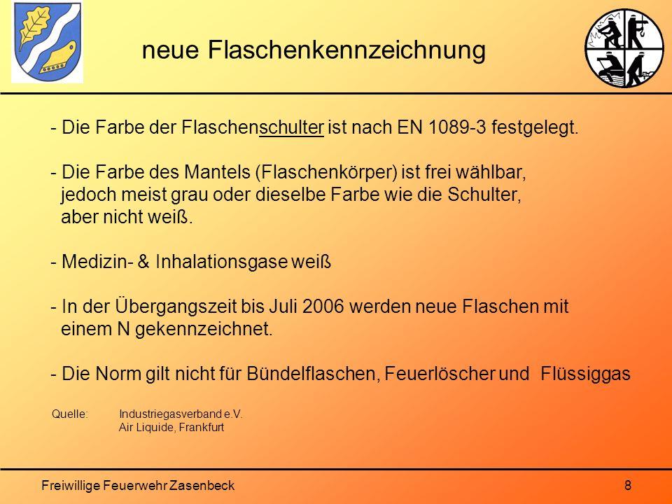 Freiwillige Feuerwehr Zasenbeck8 neue Flaschenkennzeichnung - Die Farbe der Flaschenschulter ist nach EN 1089-3 festgelegt.