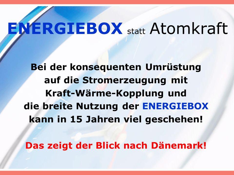 ENERGIEBOX statt Atomkraft Bei der konsequenten Umrüstung auf die Stromerzeugung mit Kraft-Wärme-Kopplung und die breite Nutzung der ENERGIEBOX kann in 15 Jahren viel geschehen.