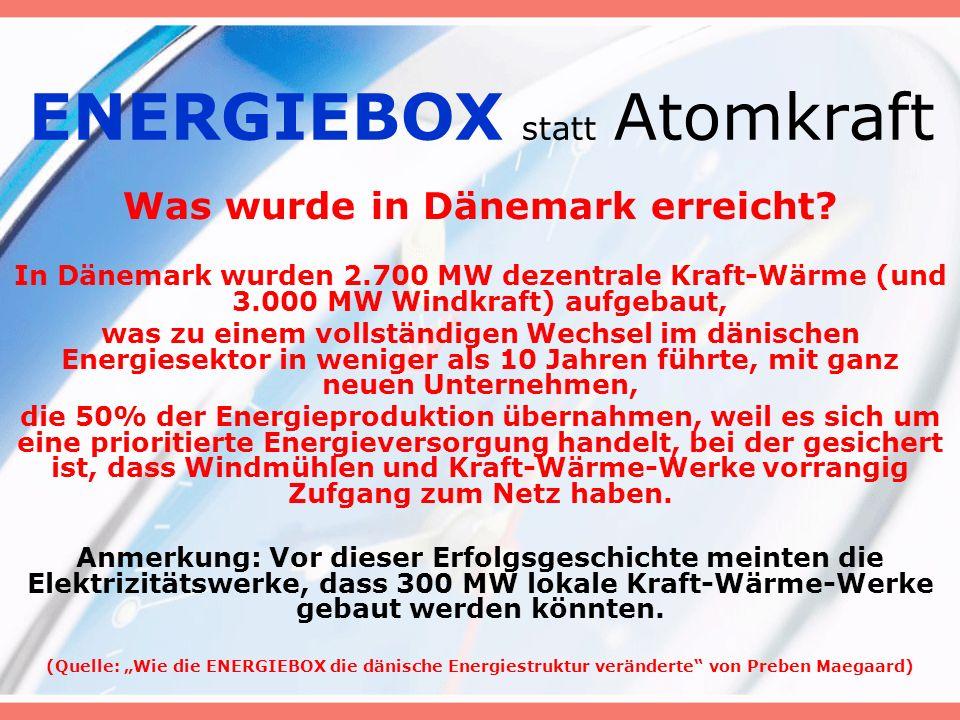 ENERGIEBOX statt Atomkraft Was wurde in Dänemark erreicht.