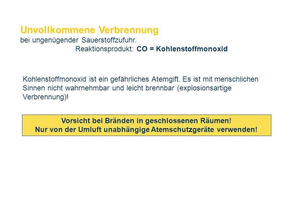 OBM Stefan Schiavulli www.ff-blofeld.de Ausbildung Feuerwehr Blofeld Folie 13 Unvollkommene Verbrennung bei ungenügender Sauerstoffzufuhr. Reaktionspr