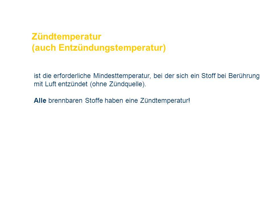 OBM Stefan Schiavulli www.ff-blofeld.de Ausbildung Feuerwehr Blofeld Folie 14 Zündtemperatur (auch Entzündungstemperatur) ist die erforderliche Mindes