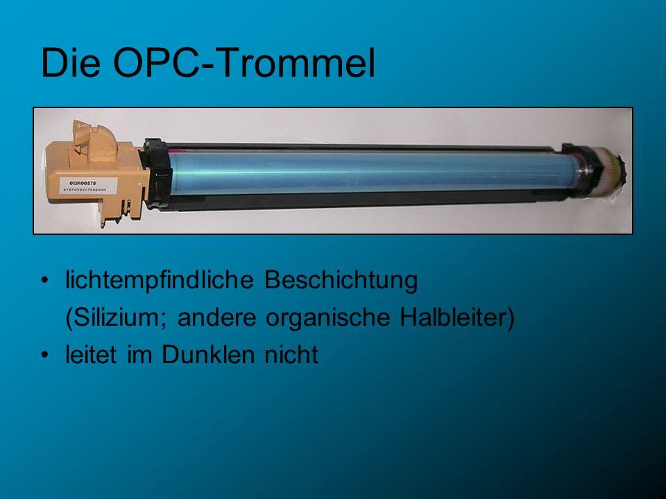 Die OPC-Trommel lichtempfindliche Beschichtung (Silizium; andere organische Halbleiter) leitet im Dunklen nicht