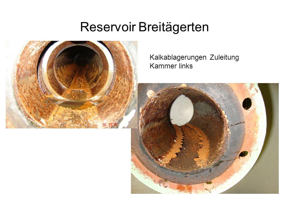 Reservoir Breitägerten Kalkablagerungen Zuleitung Kammer links