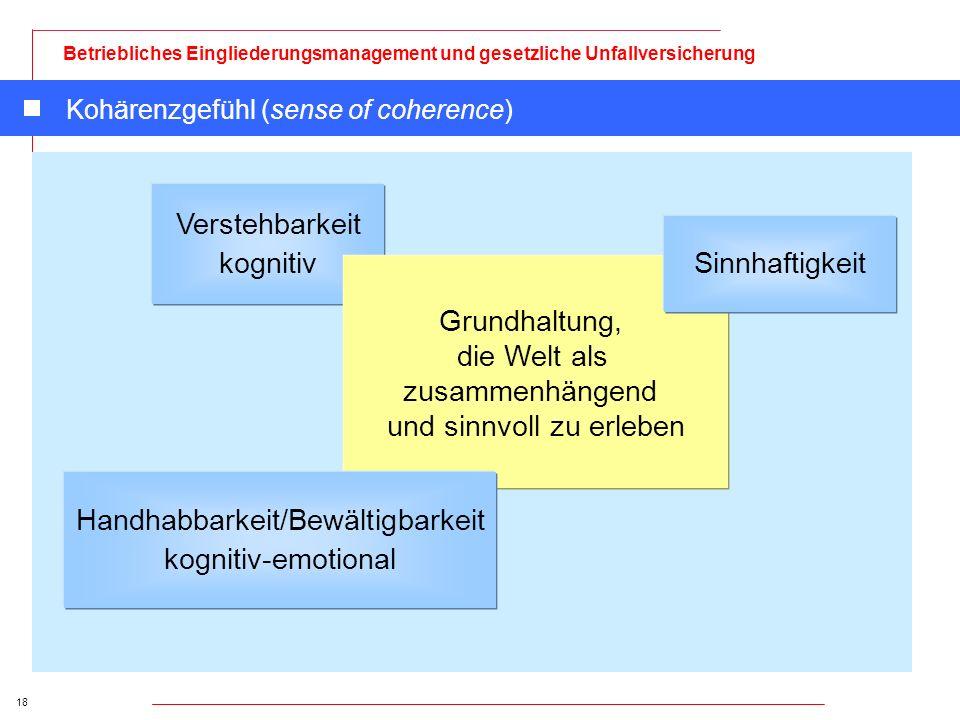 18 Betriebliches Eingliederungsmanagement und gesetzliche Unfallversicherung Kohärenzgefühl (sense of coherence) Verstehbarkeit kognitiv Grundhaltung,