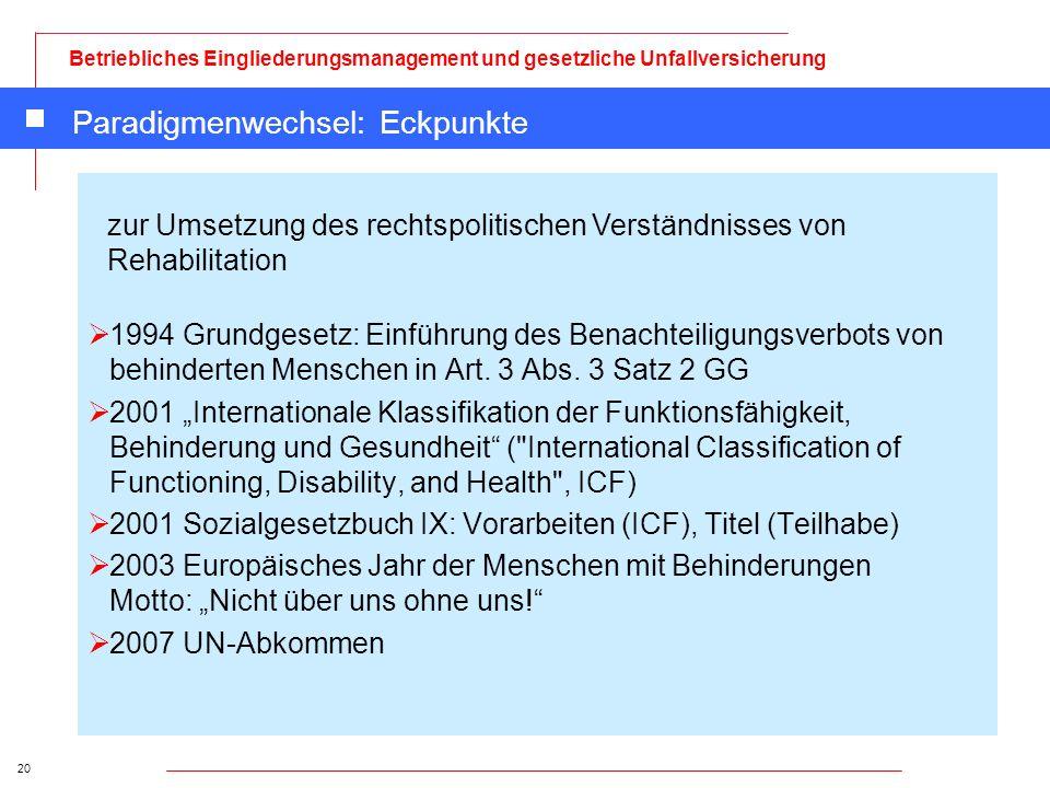 20 Betriebliches Eingliederungsmanagement und gesetzliche Unfallversicherung Paradigmenwechsel: Eckpunkte 1994 Grundgesetz: Einführung des Benachteili