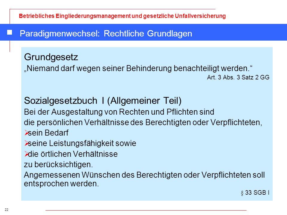 22 Betriebliches Eingliederungsmanagement und gesetzliche Unfallversicherung Paradigmenwechsel: Rechtliche Grundlagen Grundgesetz Niemand darf wegen s