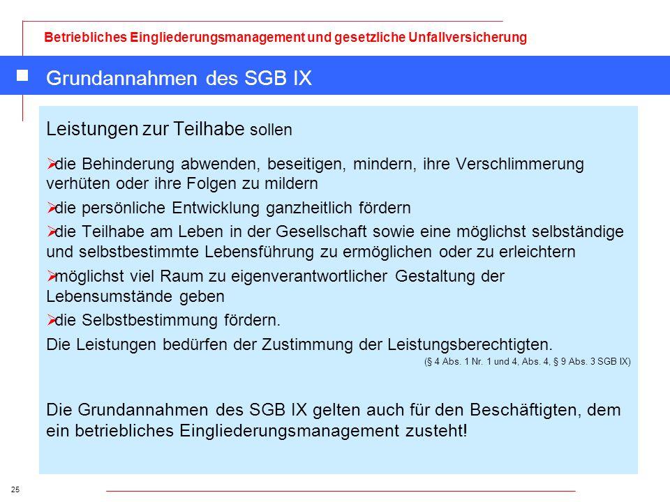 25 Betriebliches Eingliederungsmanagement und gesetzliche Unfallversicherung Grundannahmen des SGB IX Leistungen zur Teilhabe sollen die Behinderung a