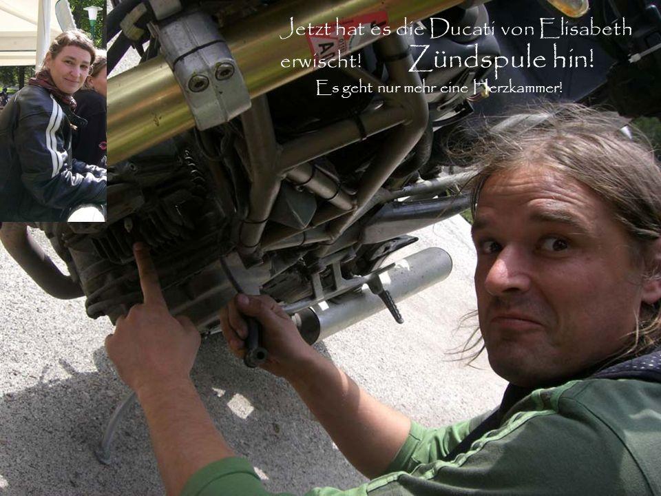 Jetzt hat es die Ducati von Elisabeth erwischt! Zündspule hin! Es geht nur mehr eine Herzkammer!