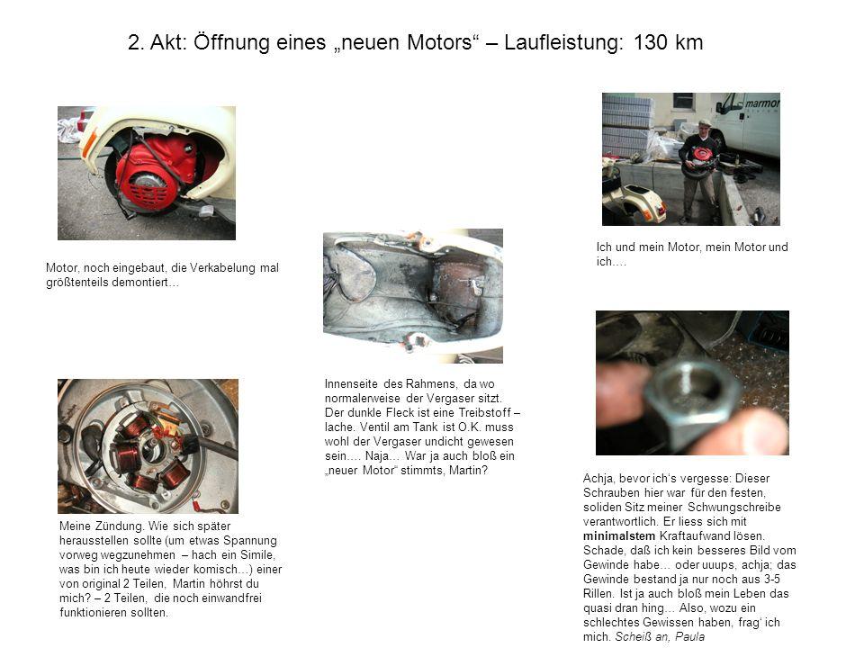 2. Akt: Öffnung eines neuen Motors – Laufleistung: 130 km Motor, noch eingebaut, die Verkabelung mal größtenteils demontiert… Innenseite des Rahmens,