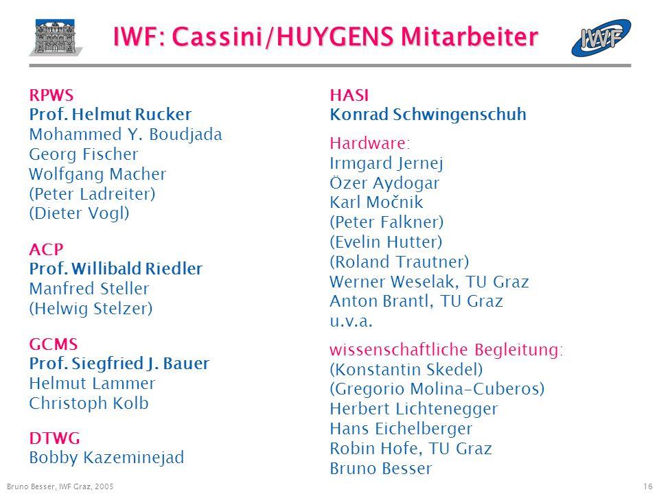 16 Bruno Besser, IWF Graz, 2005 IWF: Cassini/HUYGENS Mitarbeiter 14. Jänner 2005 ACP Prof. Willibald Riedler Manfred Steller (Helwig Stelzer) GCMS Pro