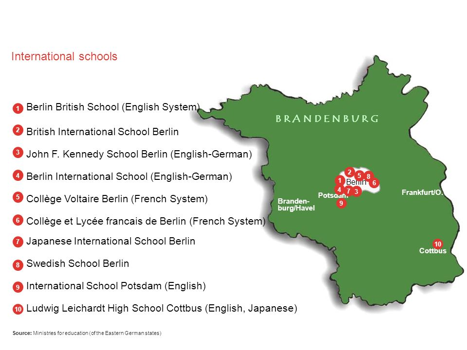 Source: Ministries for education (of the Eastern German states) International schools Frankfurt/O. 1 2 3 4 5 6 7 8 9 10 B R A N D E N B U R G Cottbus