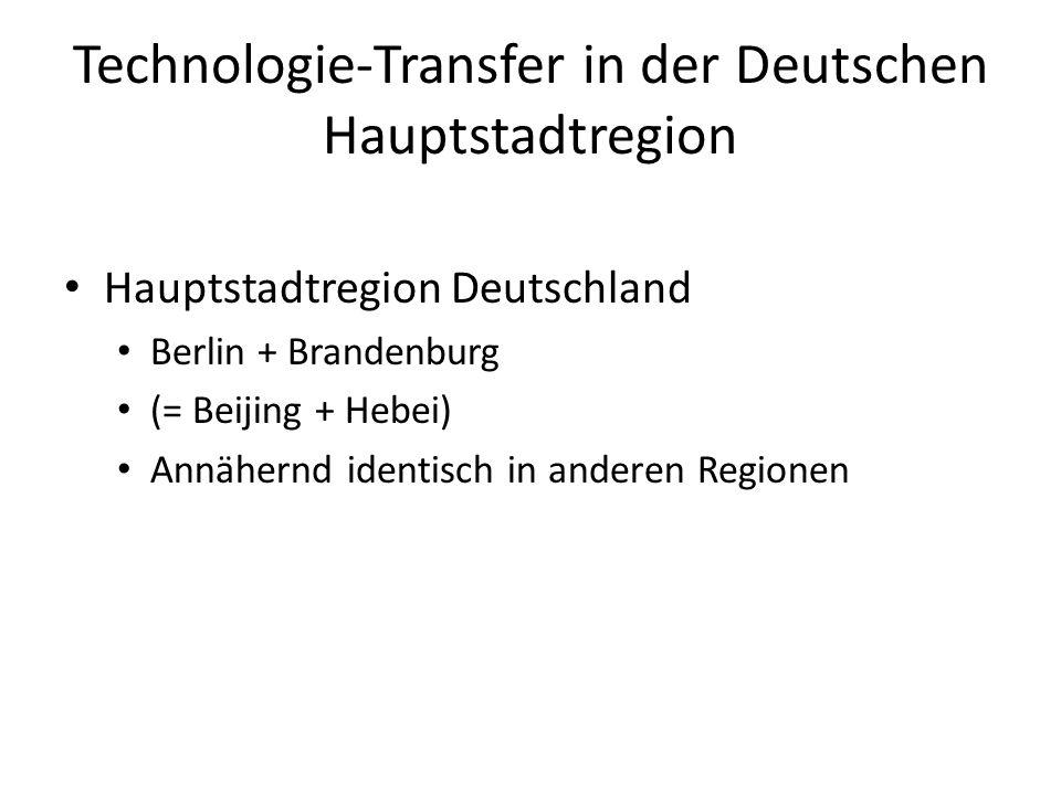 Technologie-Transfer in der Deutschen Hauptstadtregion Hauptstadtregion Deutschland Berlin + Brandenburg (= Beijing + Hebei) Annähernd identisch in an