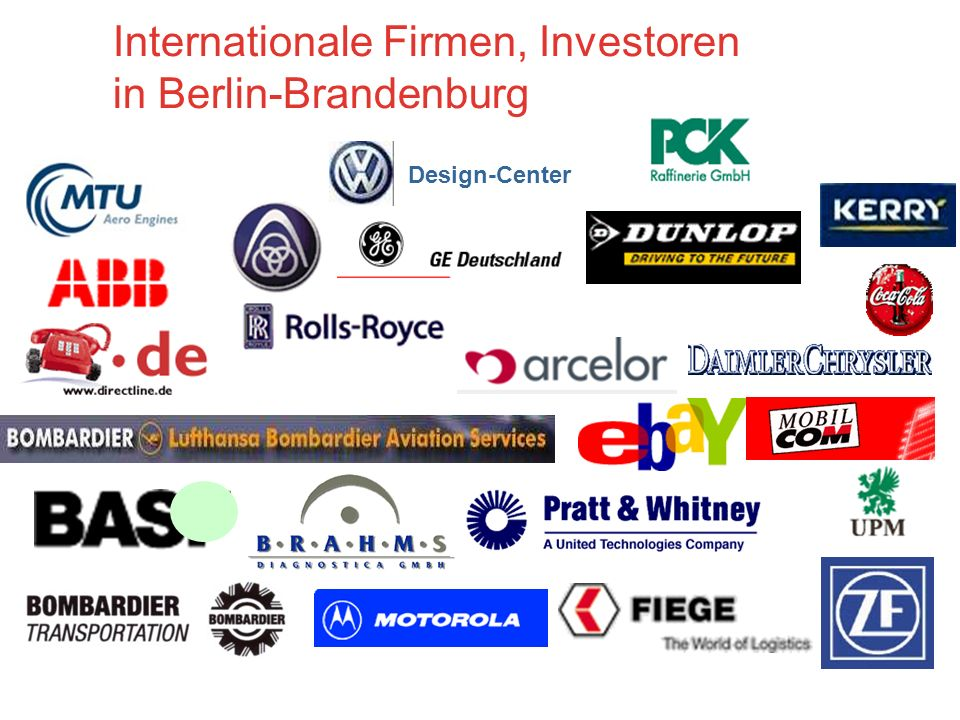 Design-Center Internationale Firmen, Investoren in Berlin-Brandenburg