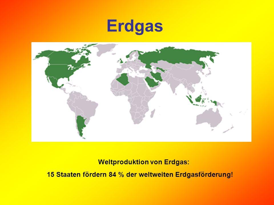 Die größten Erdgasförderer Rang Land19701980199020002004 1.Russland163,5335,0640,6584,2625,0 2.USA636,6547,2498,6543,4530,3 3.Kanada77,569,8106,8180,3184,1 4.Großbritannien19,036,549,6115,2100,5 5.Niederlande43,896,2 71,8 72,783,7 24.