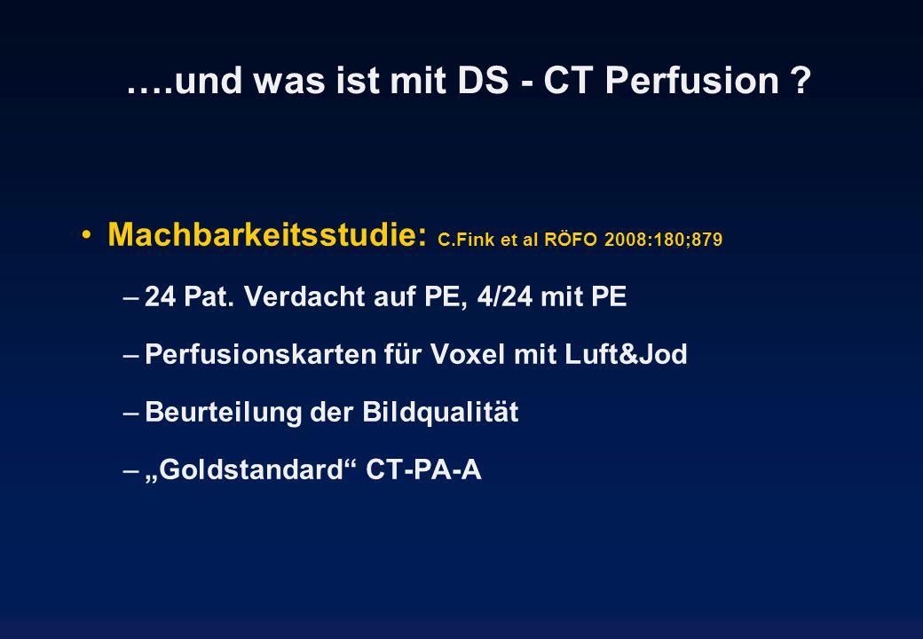 ….und was ist mit DS - CT Perfusion ? Machbarkeitsstudie: C.Fink et al RÖFO 2008:180;879 –24 Pat. Verdacht auf PE, 4/24 mit PE –Perfusionskarten für V