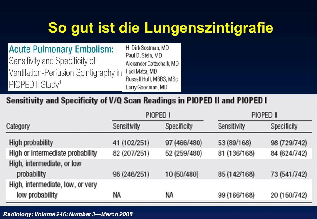 So gut ist die Lungenszintigrafie Radiology: Volume 246: Number 3March 2008