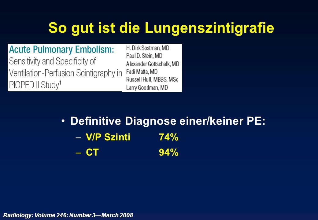 So gut ist die Lungenszintigrafie Definitive Diagnose einer/keiner PE: – V/P Szinti 74% – CT94% Radiology: Volume 246: Number 3March 2008