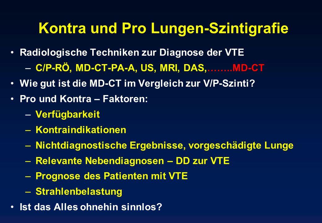 Kontra und Pro Lungen-Szintigrafie Radiologische Techniken zur Diagnose der VTE – C/P-RÖ, MD-CT-PA-A, US, MRI, DAS,……..MD-CT Wie gut ist die MD-CT im
