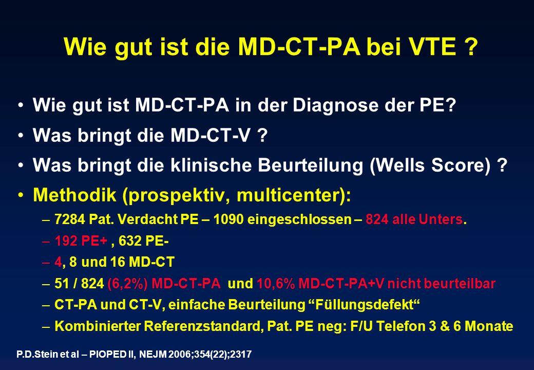 Wie gut ist die MD-CT-PA bei VTE ? Wie gut ist MD-CT-PA in der Diagnose der PE? Was bringt die MD-CT-V ? Was bringt die klinische Beurteilung (Wells S