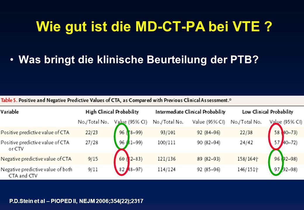 Wie gut ist die MD-CT-PA bei VTE ? Was bringt die klinische Beurteilung der PTB? P.D.Stein et al – PIOPED II, NEJM 2006;354(22);2317