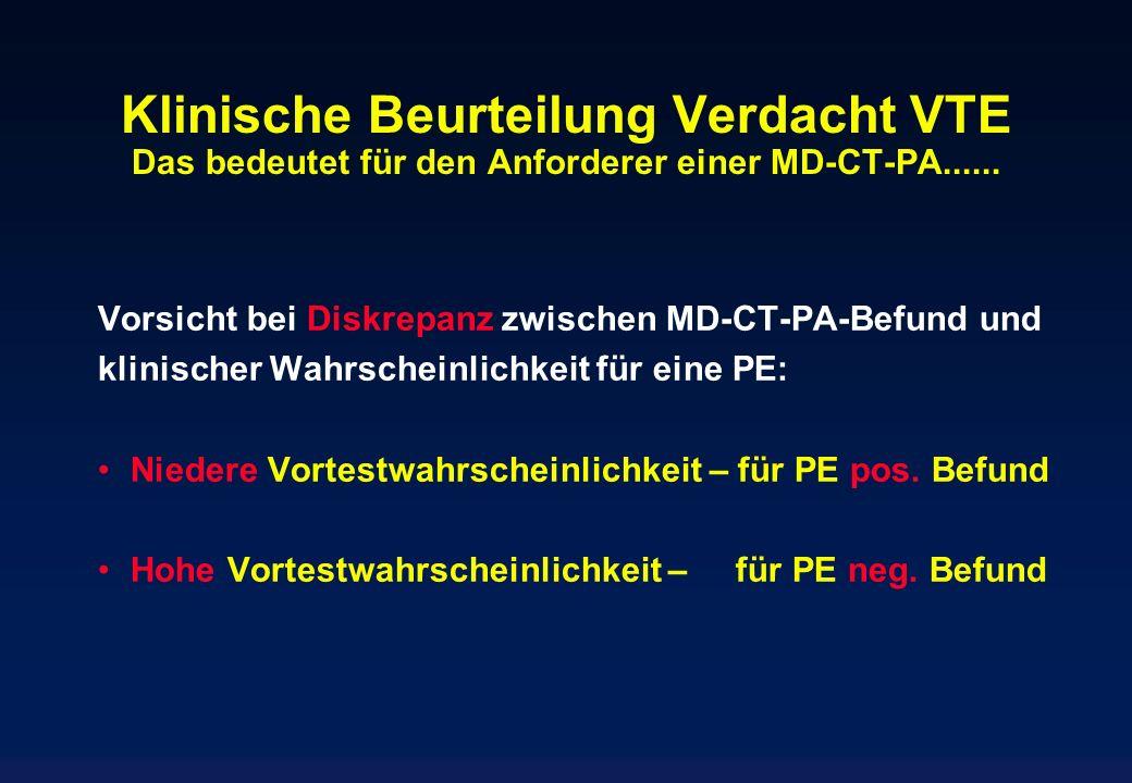 Klinische Beurteilung Verdacht VTE Das bedeutet für den Anforderer einer MD-CT-PA...... Vorsicht bei Diskrepanz zwischen MD-CT-PA-Befund und klinische