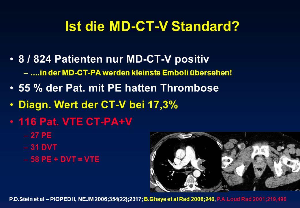 Ist die MD-CT-V Standard? 8 / 824 Patienten nur MD-CT-V positiv –....in der MD-CT-PA werden kleinste Emboli übersehen! 55 % der Pat. mit PE hatten Thr