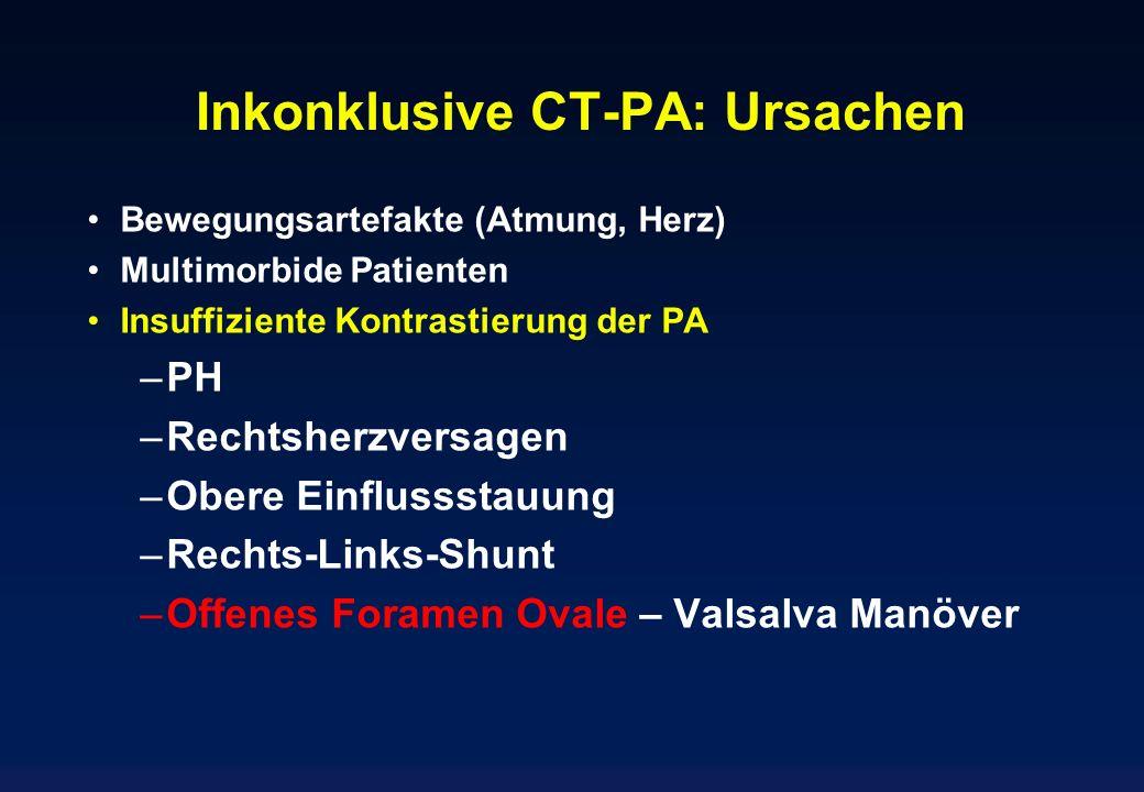 Inkonklusive CT-PA: Ursachen Bewegungsartefakte (Atmung, Herz) Multimorbide Patienten Insuffiziente Kontrastierung der PA –PH –Rechtsherzversagen –Obe