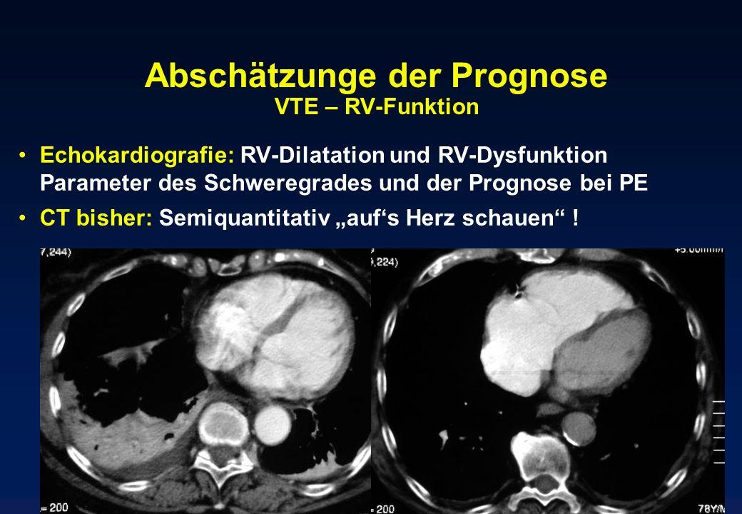 Abschätzunge der Prognose VTE – RV-Funktion Echokardiografie: RV-Dilatation und RV-Dysfunktion Parameter des Schweregrades und der Prognose bei PE CT