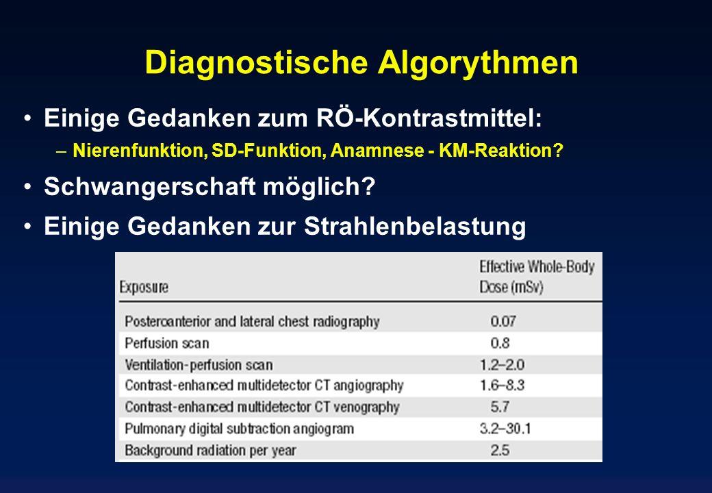 Diagnostische Algorythmen Einige Gedanken zum RÖ-Kontrastmittel: –Nierenfunktion, SD-Funktion, Anamnese - KM-Reaktion? Schwangerschaft möglich? Einige