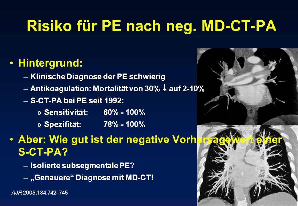 Risiko für PE nach neg. MD-CT-PA Hintergrund: –Klinische Diagnose der PE schwierig –Antikoagulation: Mortalität von 30% auf 2-10% –S-CT-PA bei PE seit