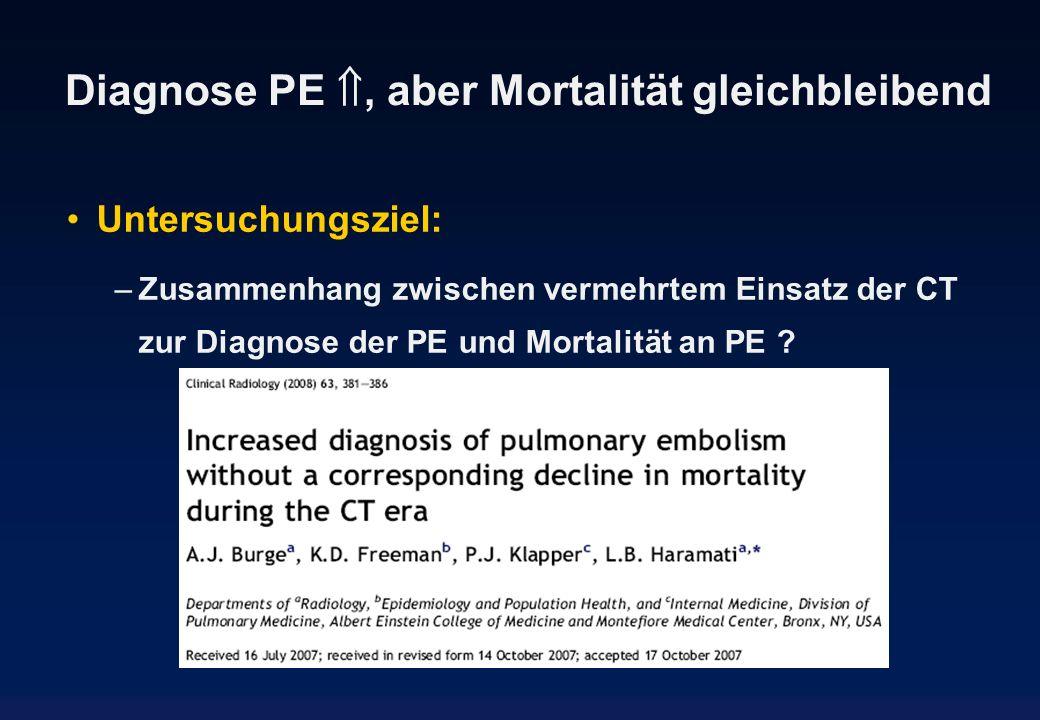 Diagnose PE, aber Mortalität gleichbleibend Untersuchungsziel: –Zusammenhang zwischen vermehrtem Einsatz der CT zur Diagnose der PE und Mortalität an