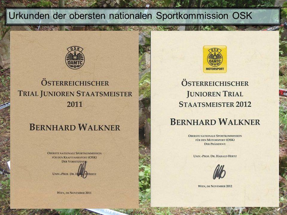 Urkunden der obersten nationalen Sportkommission OSK