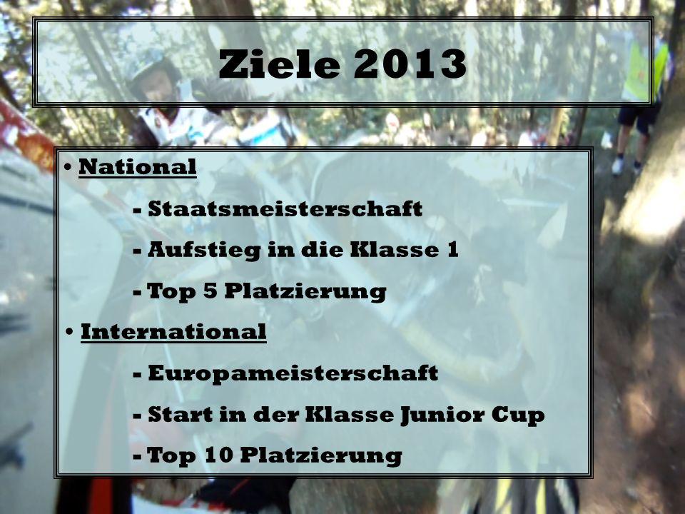 Ziele 2013 National - Staatsmeisterschaft - Aufstieg in die Klasse 1 - Top 5 Platzierung International - Europameisterschaft - Start in der Klasse Jun