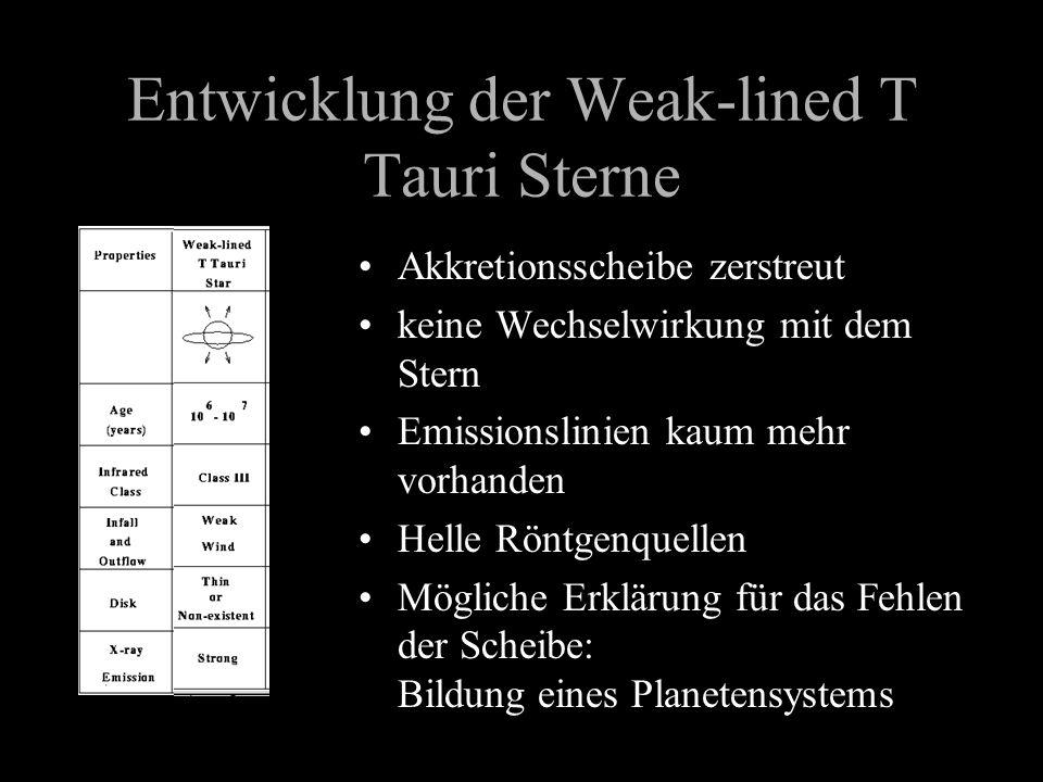 Entwicklung der Weak-lined T Tauri Sterne Akkretionsscheibe zerstreut keine Wechselwirkung mit dem Stern Emissionslinien kaum mehr vorhanden Helle Rön
