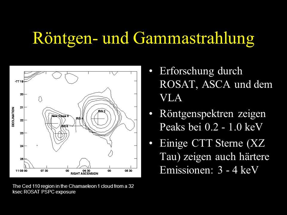 Röntgen- und Gammastrahlung Erforschung durch ROSAT, ASCA und dem VLA Röntgenspektren zeigen Peaks bei 0.2 - 1.0 keV Einige CTT Sterne (XZ Tau) zeigen