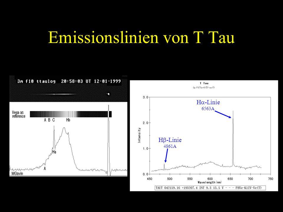 Emissionslinien von T Tau H -Linie 6563A H -Linie 4861A