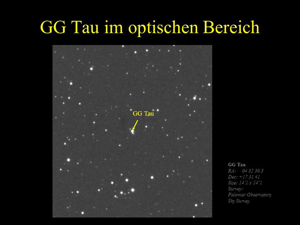 GG Tau im optischen Bereich GG Tau RA: 04 32 30.3 Dec: +17 31 41 Size: 14´1 x 14´1 Survey: Palomar Observatory Sky Survey GG Tau