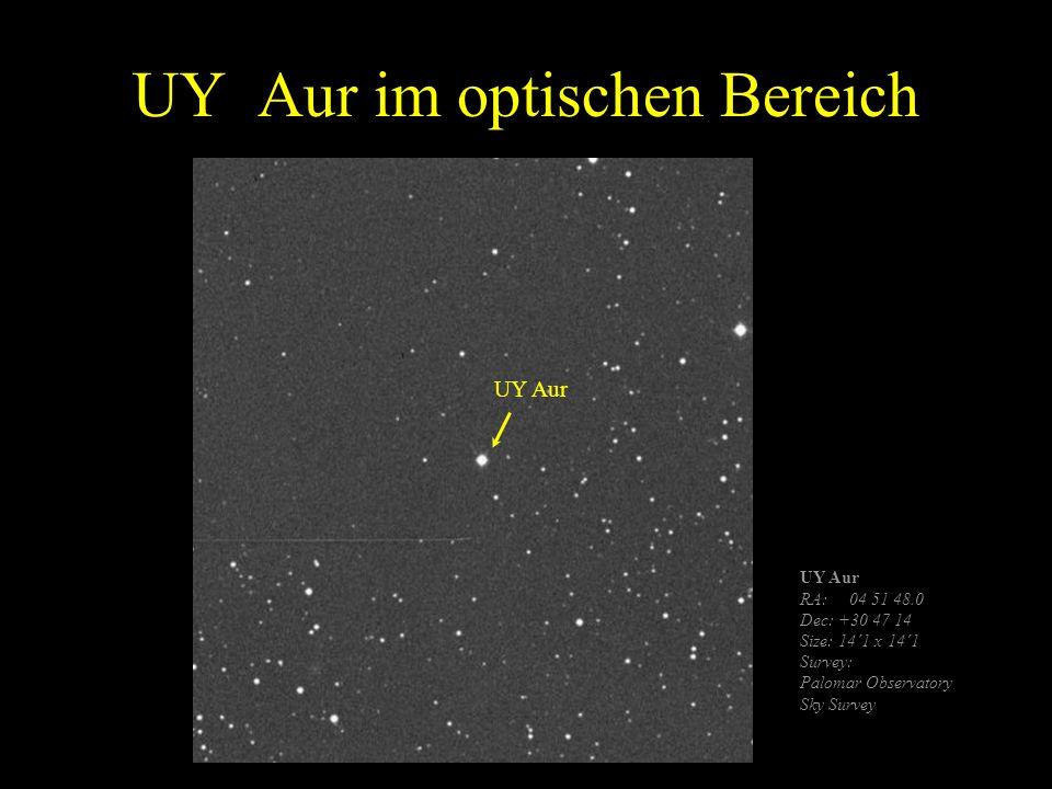 UY Aur im optischen Bereich UY Aur RA: 04 51 48.0 Dec: +30 47 14 Size: 14´1 x 14´1 Survey: Palomar Observatory Sky Survey UY Aur