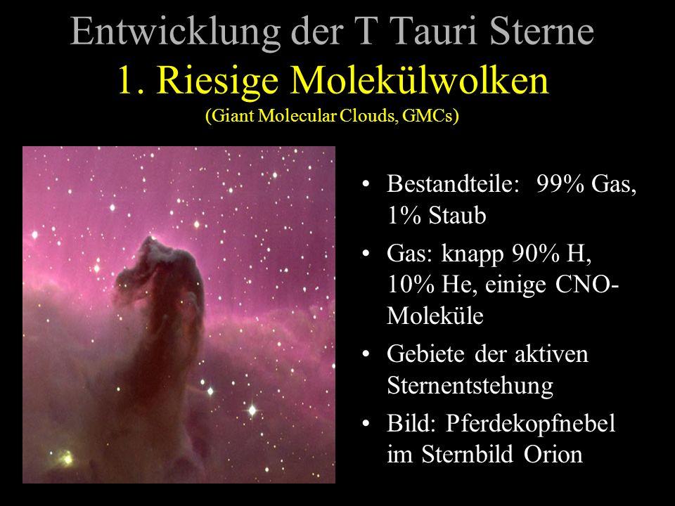 Entwicklung der T Tauri Sterne 1. Riesige Molekülwolken (Giant Molecular Clouds, GMCs) Bestandteile: 99% Gas, 1% Staub Gas: knapp 90% H, 10% He, einig
