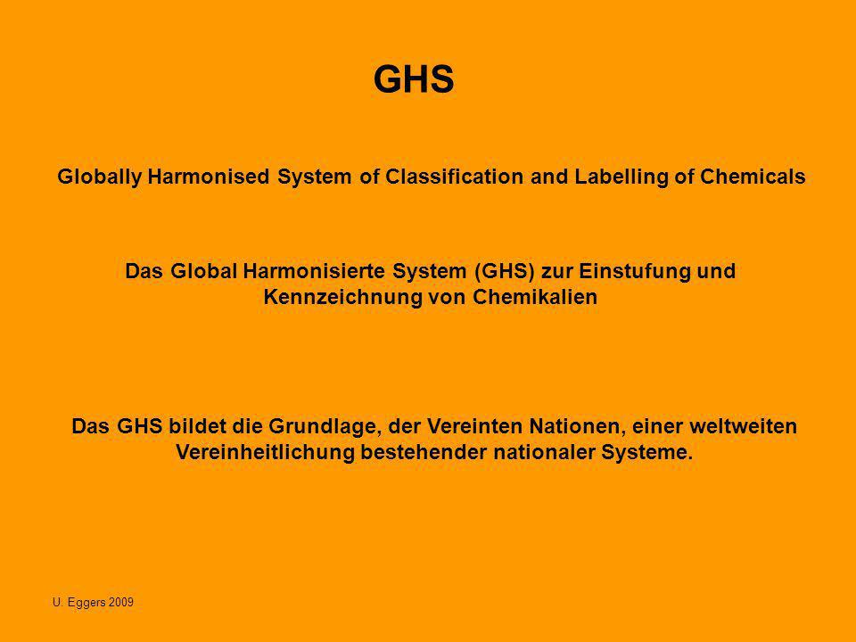 U. Eggers 2009 GHS Globally Harmonised System of Classification and Labelling of Chemicals Das Global Harmonisierte System (GHS) zur Einstufung und Ke