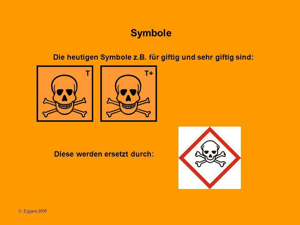 U. Eggers 2009 Symbole Die heutigen Symbole z.B. für giftig und sehr giftig sind: Diese werden ersetzt durch: